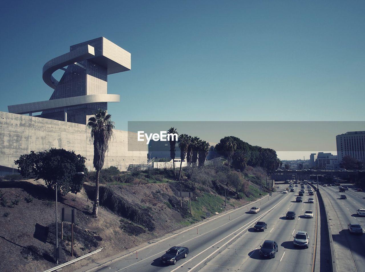 Modern building at roadside