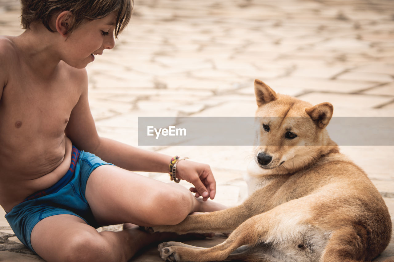 Midsection of boy with dog sitting outdoors