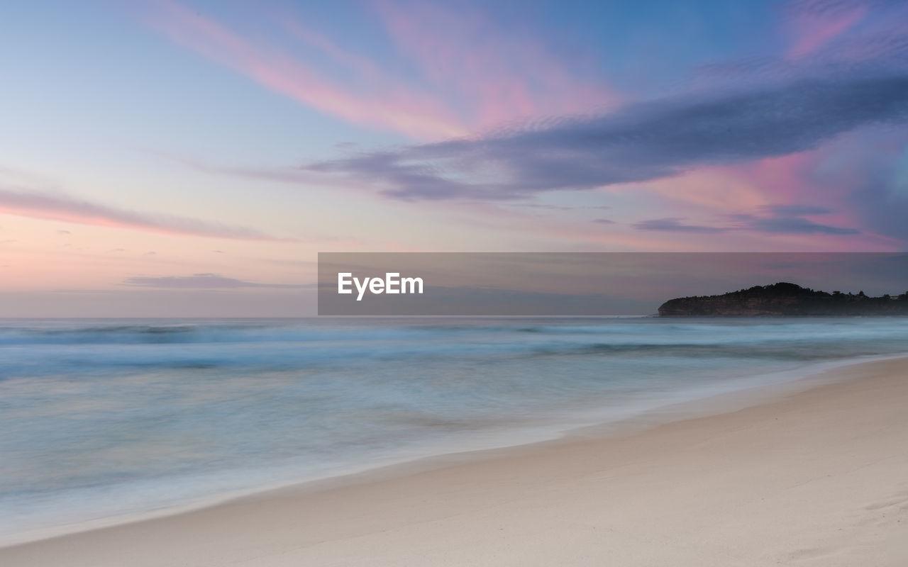 sky, sea, beach, land, sunset, scenics - nature, beauty in nature, water, cloud - sky, horizon over water, tranquility, horizon, tranquil scene, sand, idyllic, nature, motion, no people, non-urban scene, outdoors