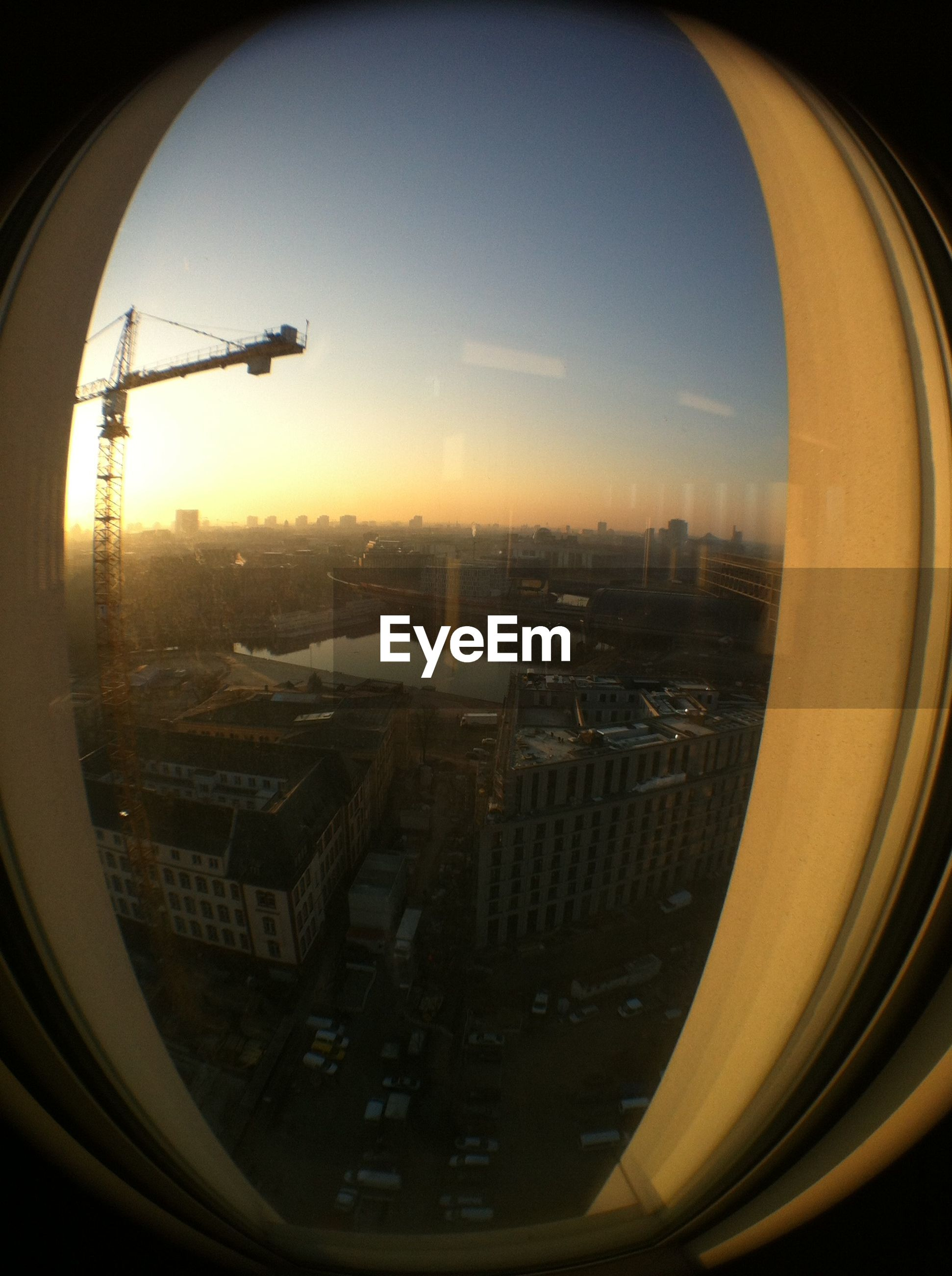 View of cityscape through airplane window