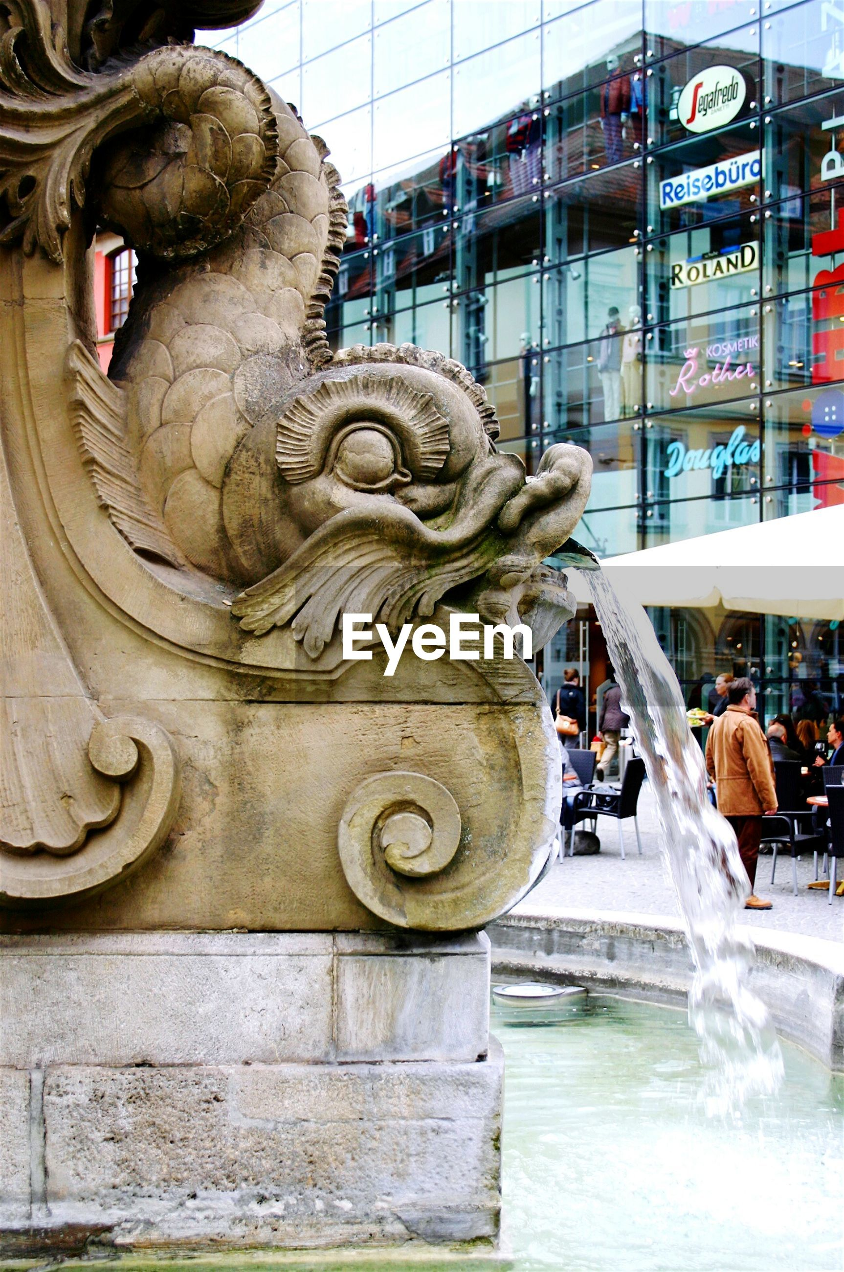 Animal shape water fountain in city
