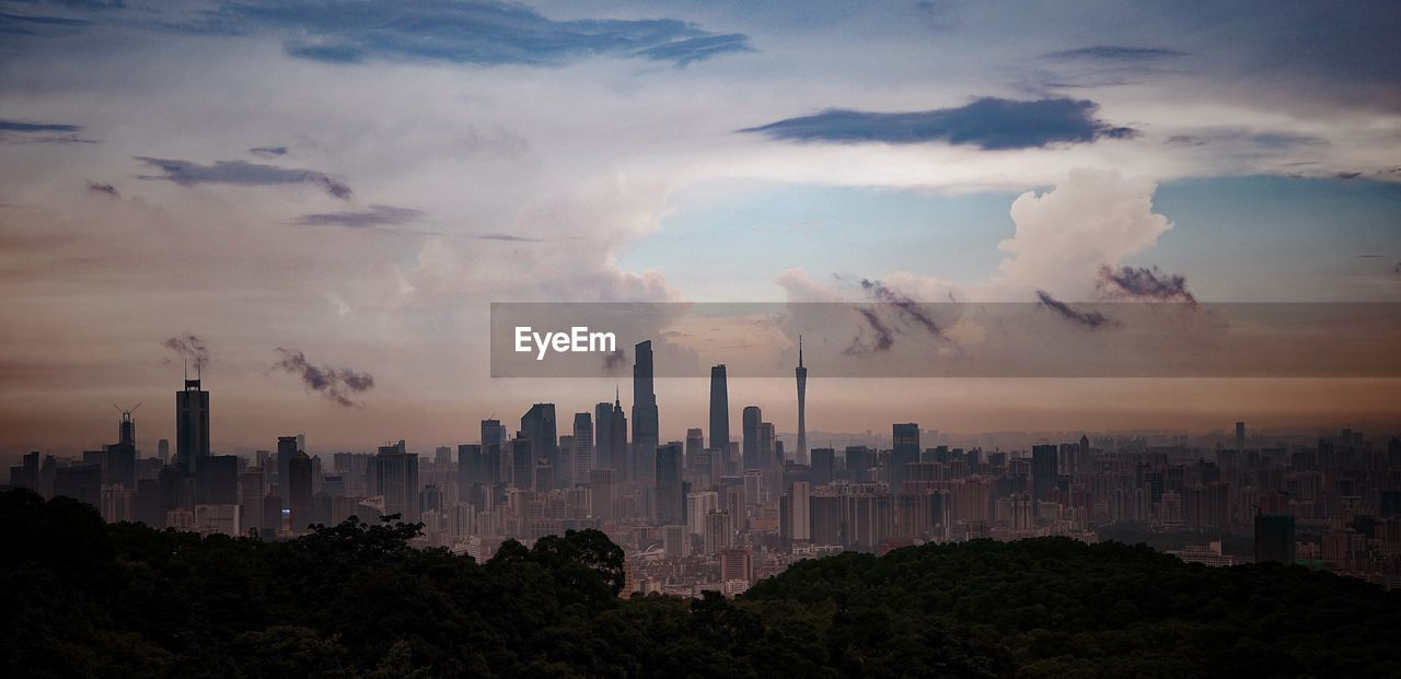 Distant View Of Guangzhou Tv And Sightseeing Tower Against Sky In City