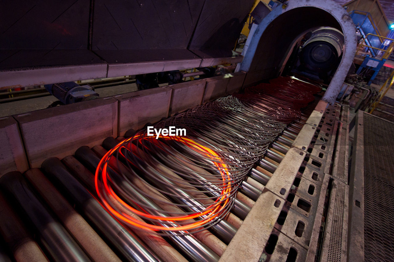 Metal Rings On Production Line At Industry