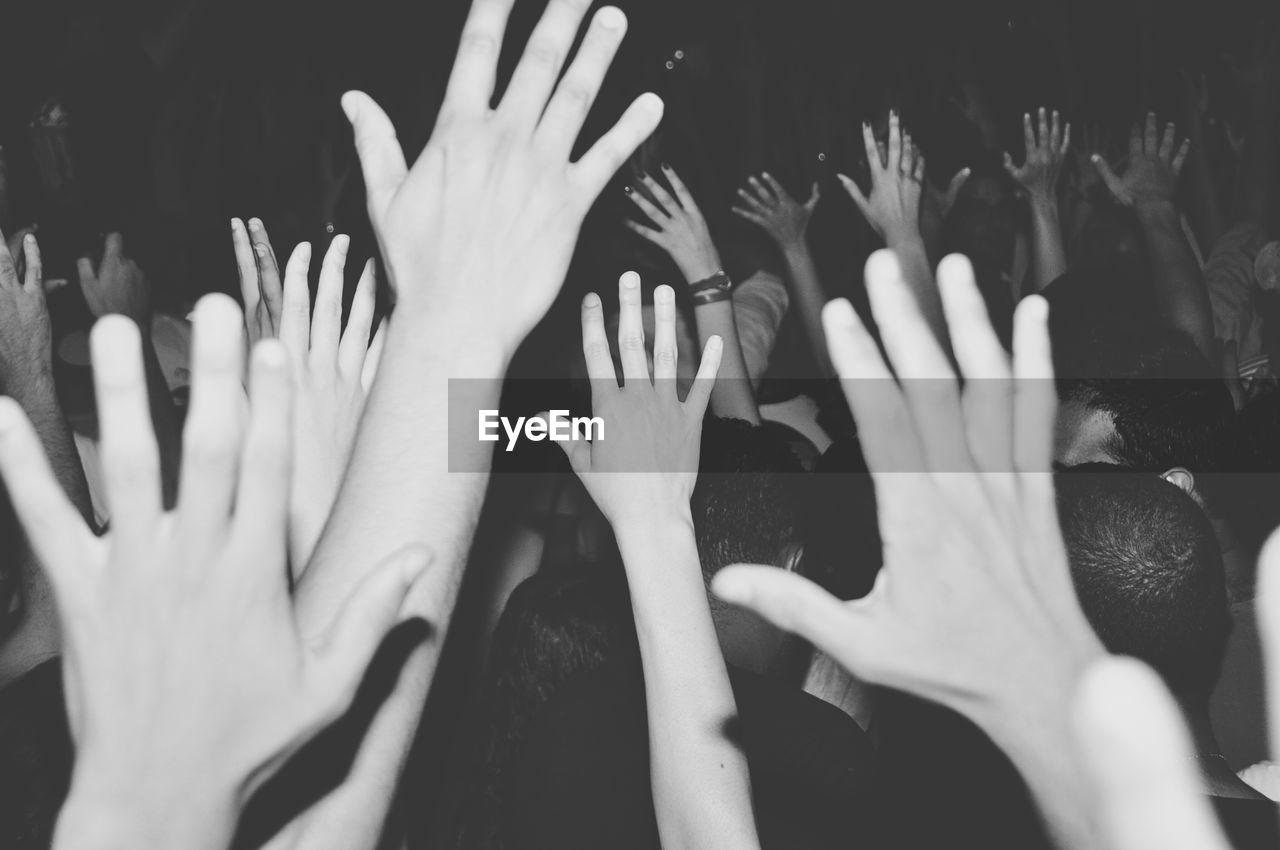 Crowd Waving Hands At Concert