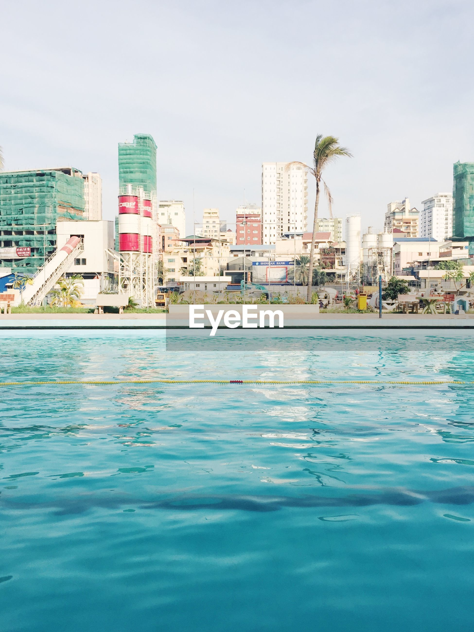 Swimming pool at phnom penh olympic stadium in city