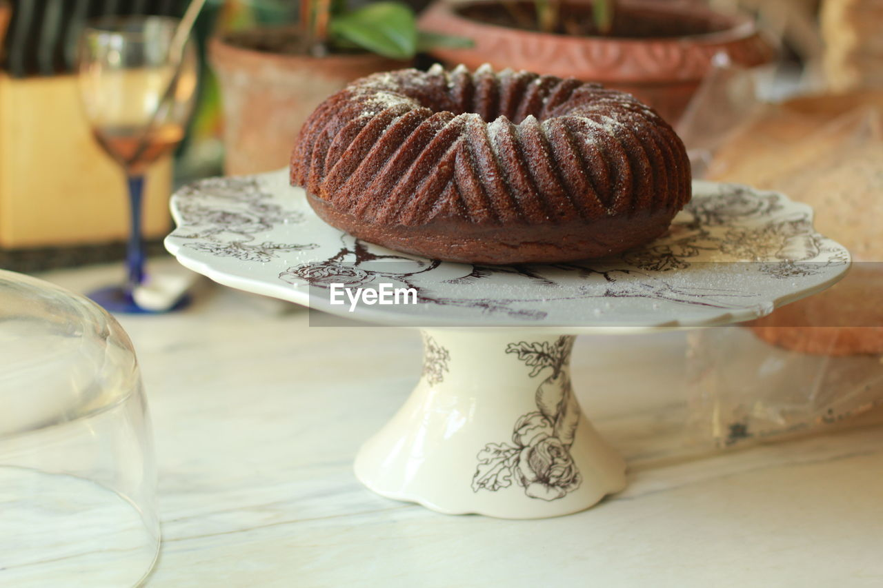 Close-Up Of Cake On Stand