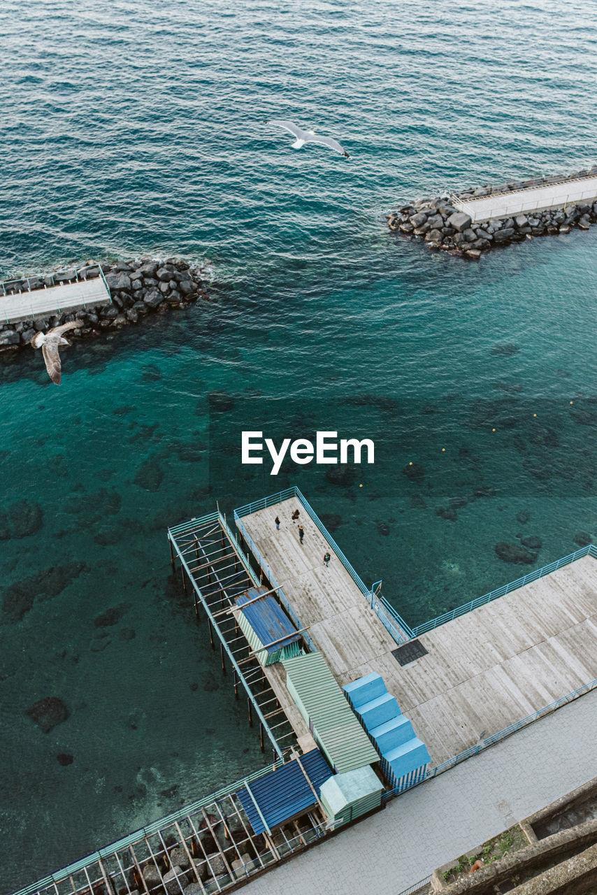 High angle view of port docks