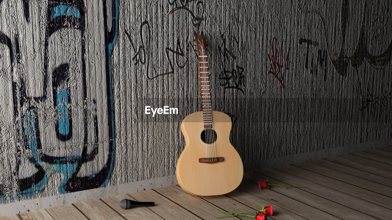 wood - material, music, guitar, musical instrument, string instrument, wall - building feature, arts culture and entertainment, musical equipment, musical instrument string, string, no people, indoors, acoustic guitar, day, still life, fretboard, hanging, plank, directly above, high angle view, electric guitar
