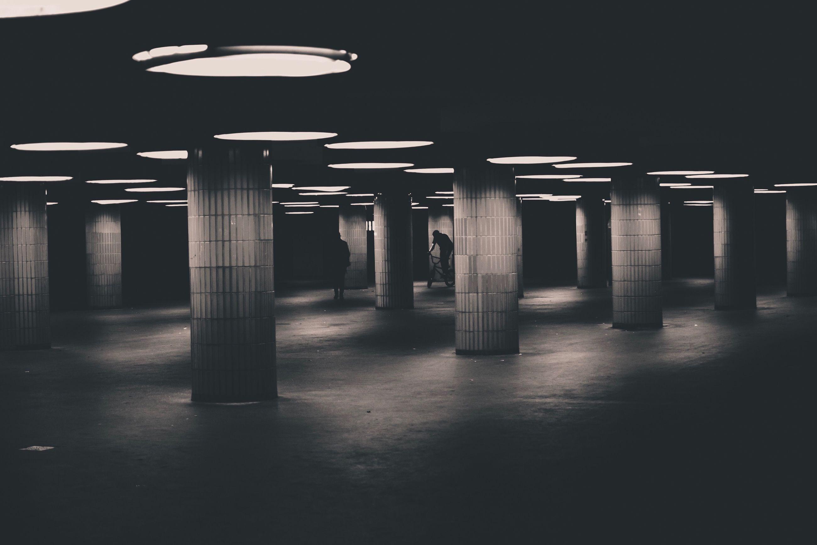 Interior of illuminated parking lot