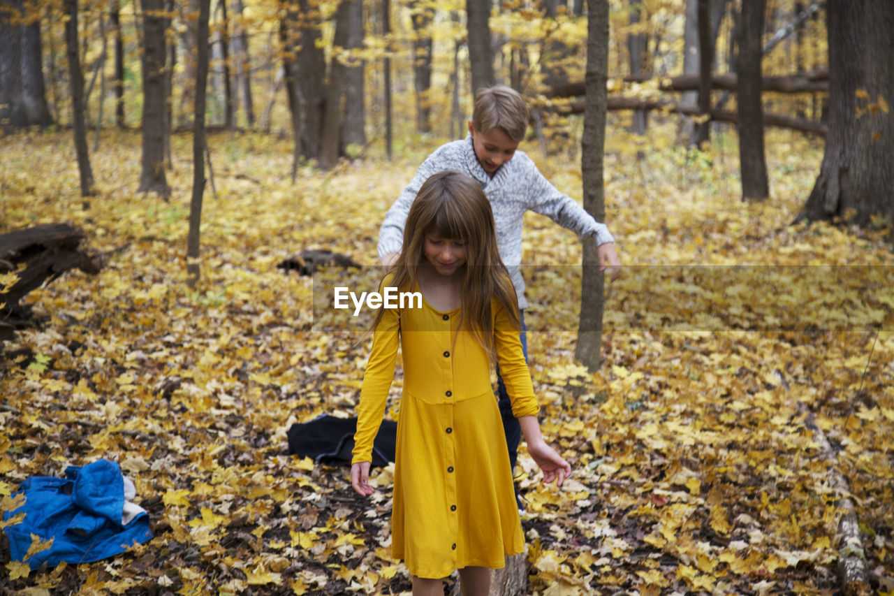 autumn, tree, forest, land, nature, girls, leaf, child, childhood, plant part, leisure activity, standing, yellow, front view, women, togetherness, plant, females, lifestyles, outdoors, woodland, change, daughter