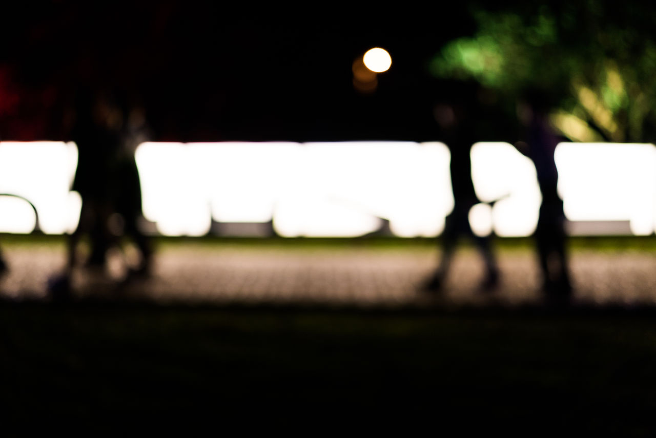 field, focus on foreground, night, illuminated, outdoors, playing field, no people, sport, nature, close-up, sky