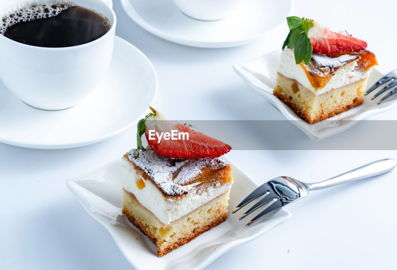 HIGH ANGLE VIEW OF CAKE SLICE IN PLATE WITH FORK