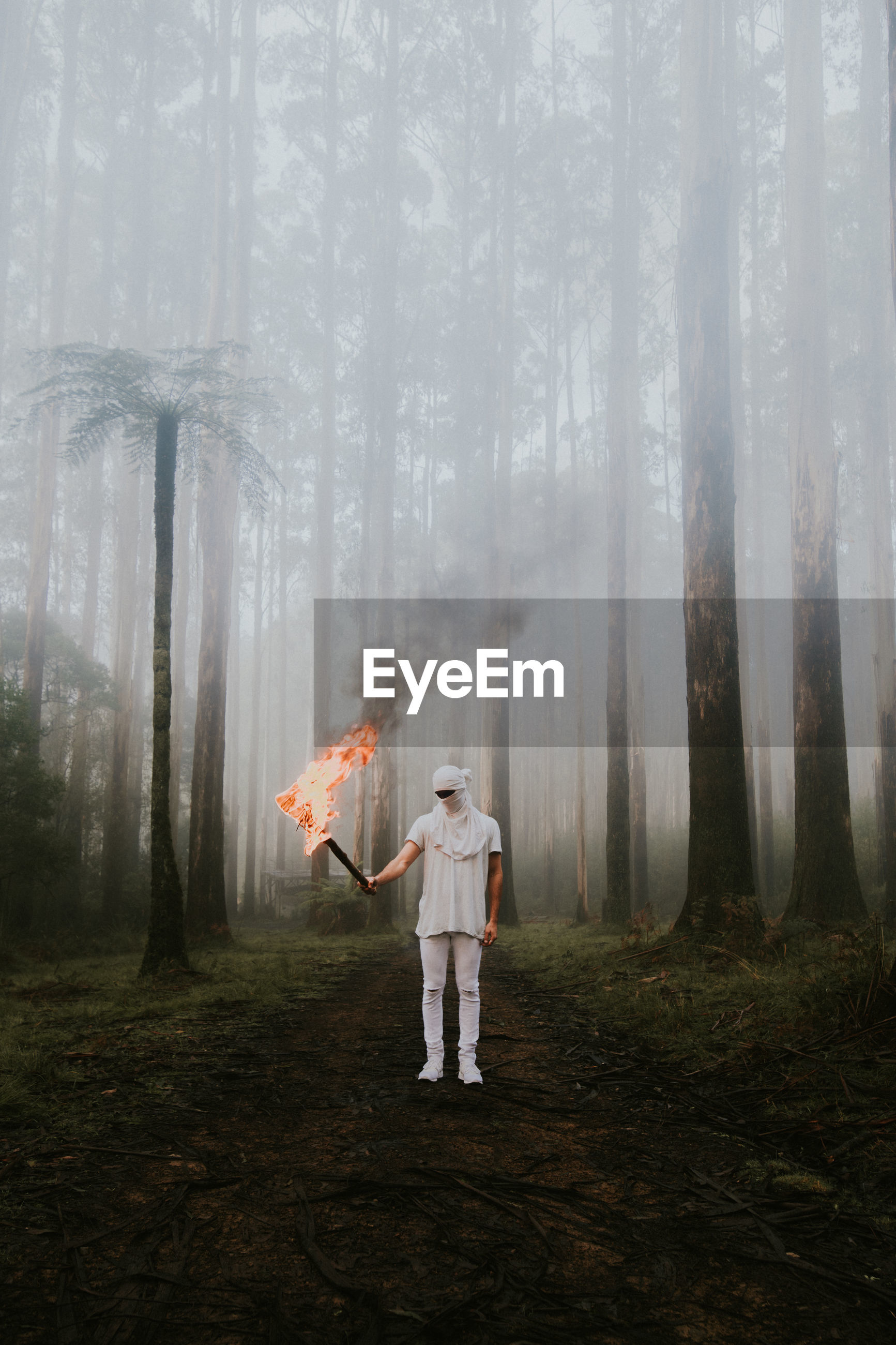 Full length of young man with fire standing in forest during foggy weather