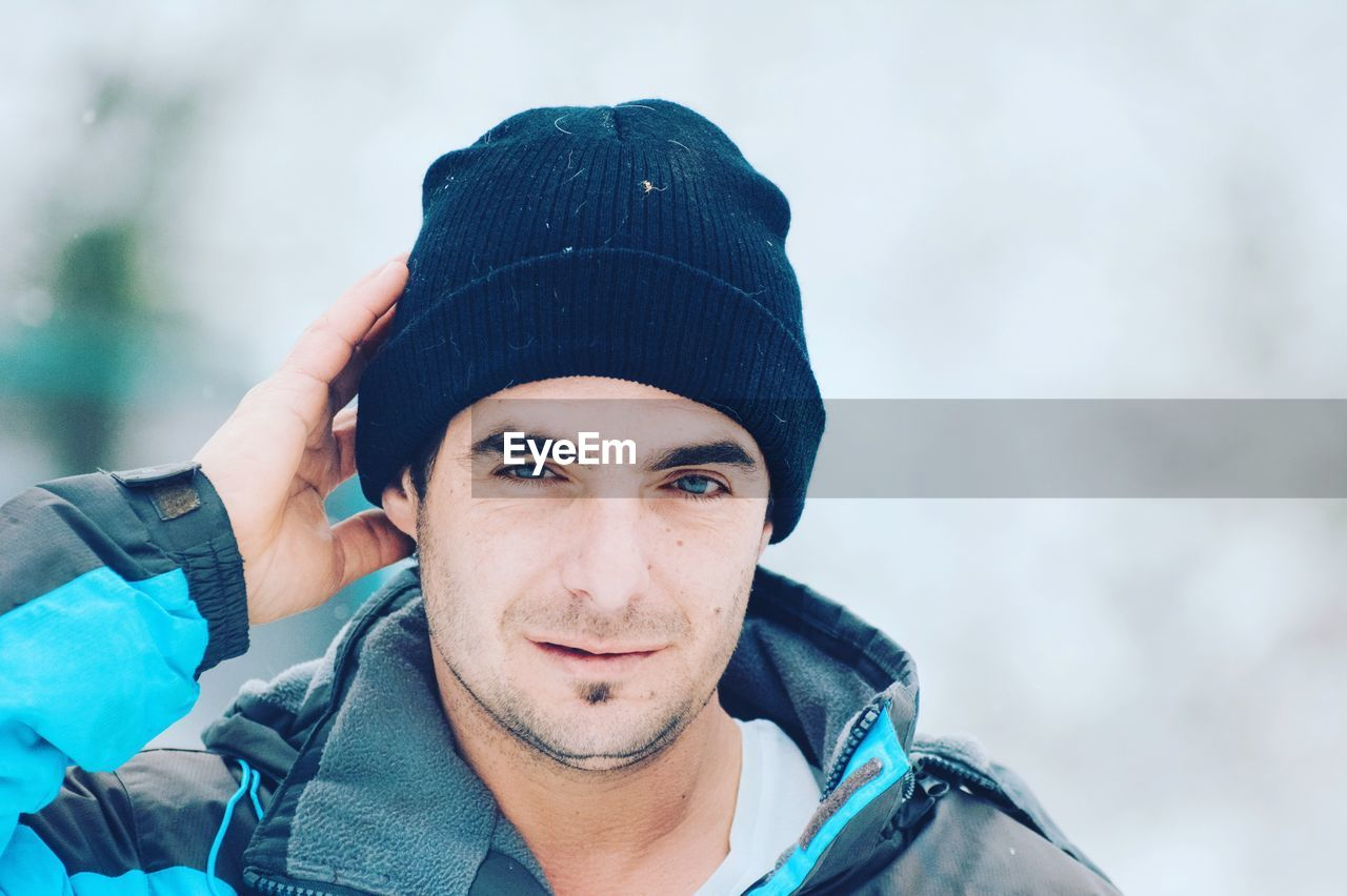 Portrait of young man during winter