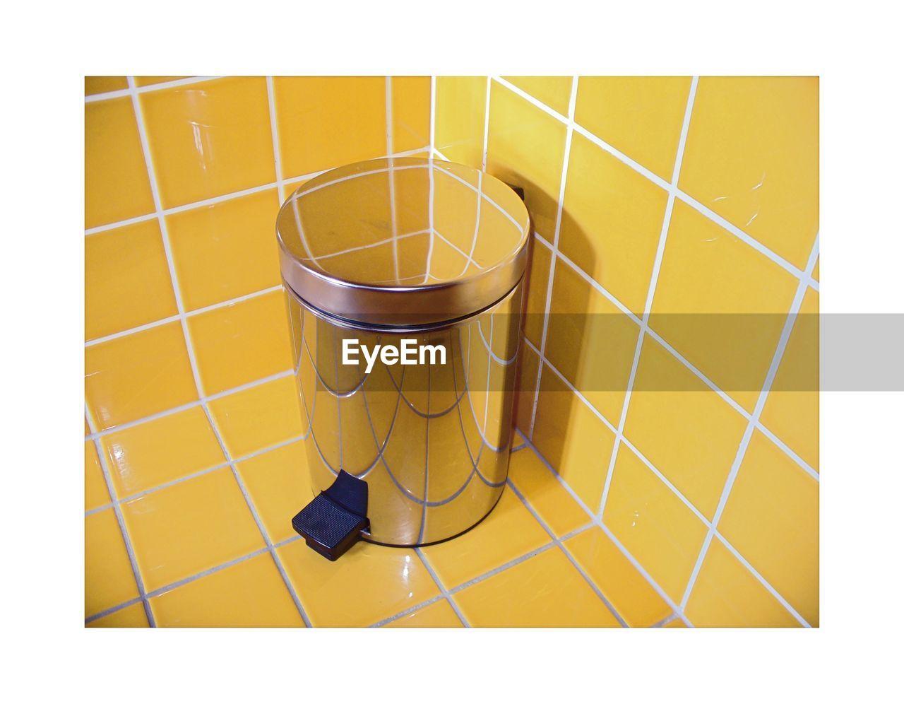 At Home Trash Bin Ashtray  Bathroom Chrome Garbage Can Waste Bin Yellow Color