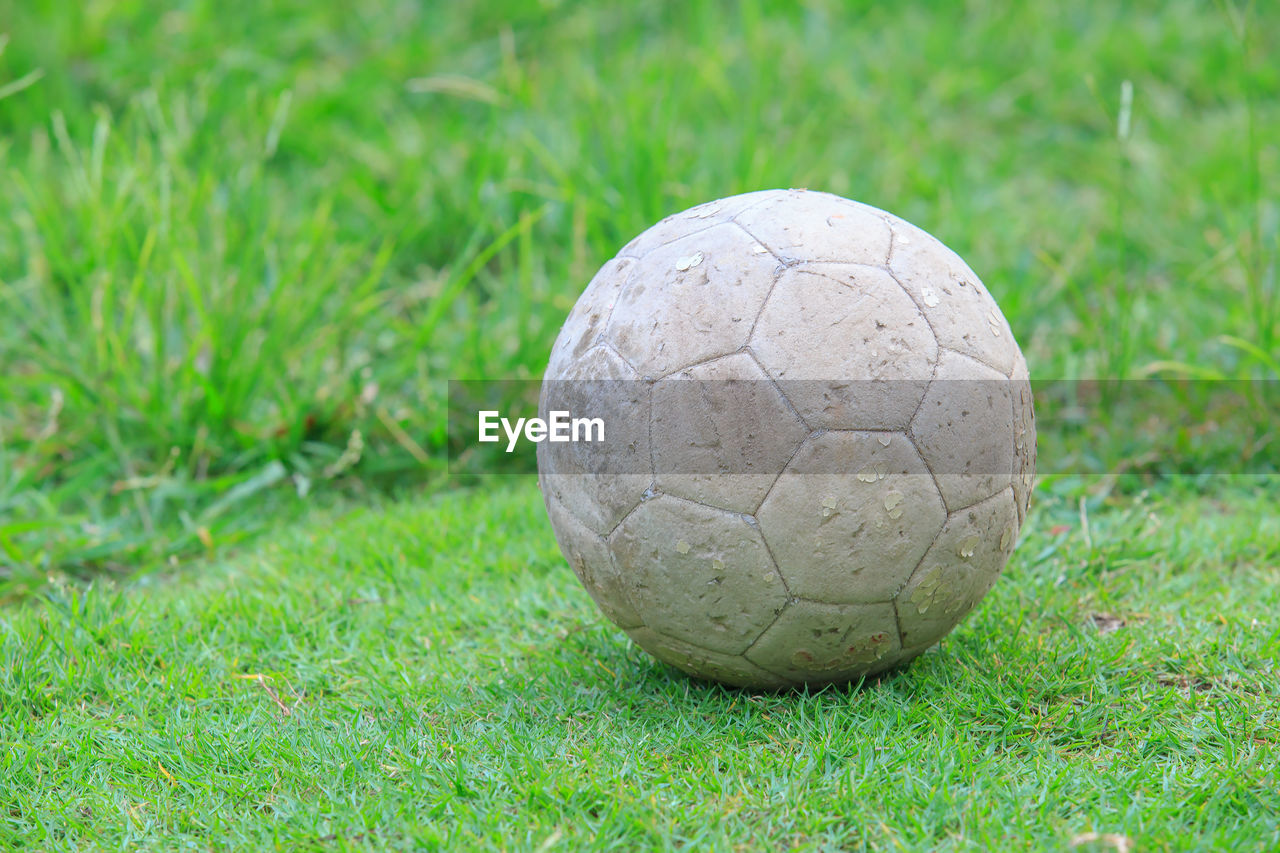 grass, ball, sport, soccer, plant, day, green color, team sport, focus on foreground, field, soccer ball, no people, nature, sphere, close-up, sports equipment, soccer field, land, single object, outdoors