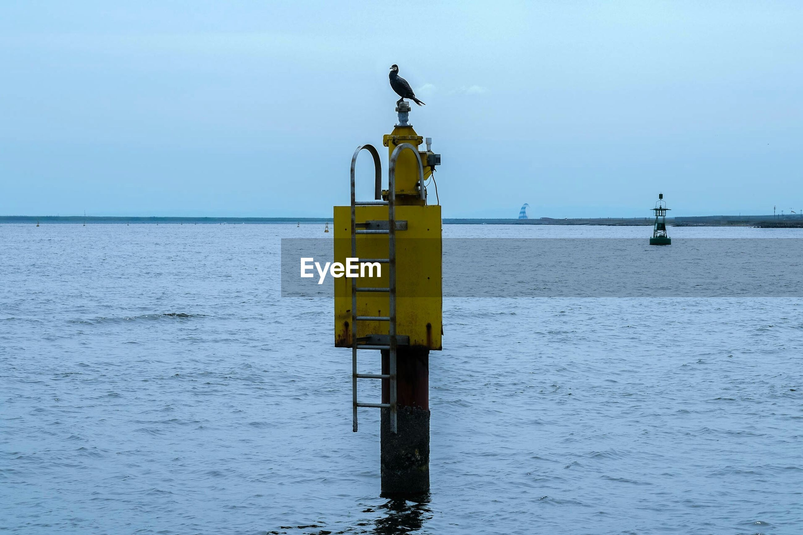 Bird Perching On Buoy In Sea Against Sky