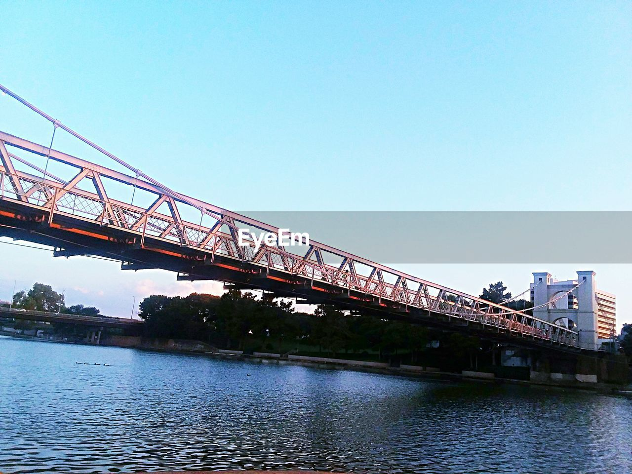 bridge, bridge - man made structure, connection, water, sky, built structure, architecture, transportation, river, clear sky, nature, copy space, day, no people, waterfront, railway bridge, blue, low angle view, outdoors