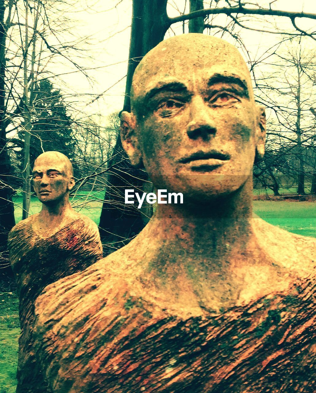 human representation, male likeness, tree, looking at camera, statue, sculpture, day, portrait, two people, outdoors, close-up, young women, young adult