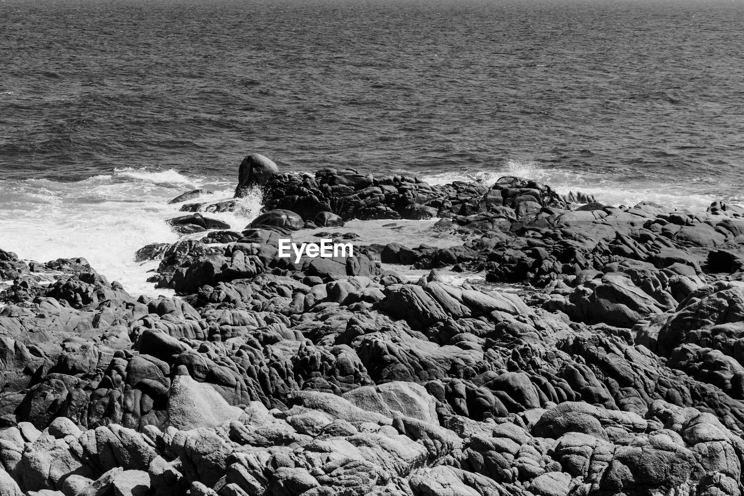 Scenic view of rocky beach