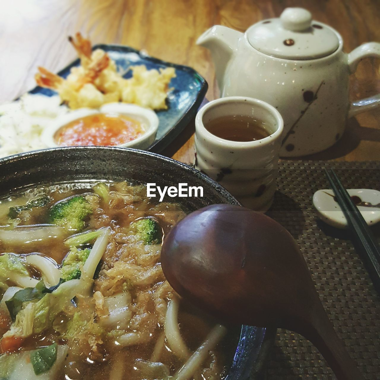 Close-up of soup in bowl on table at restaurant