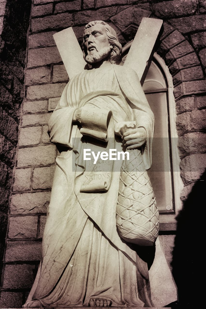 Low angle view of st andrews statue