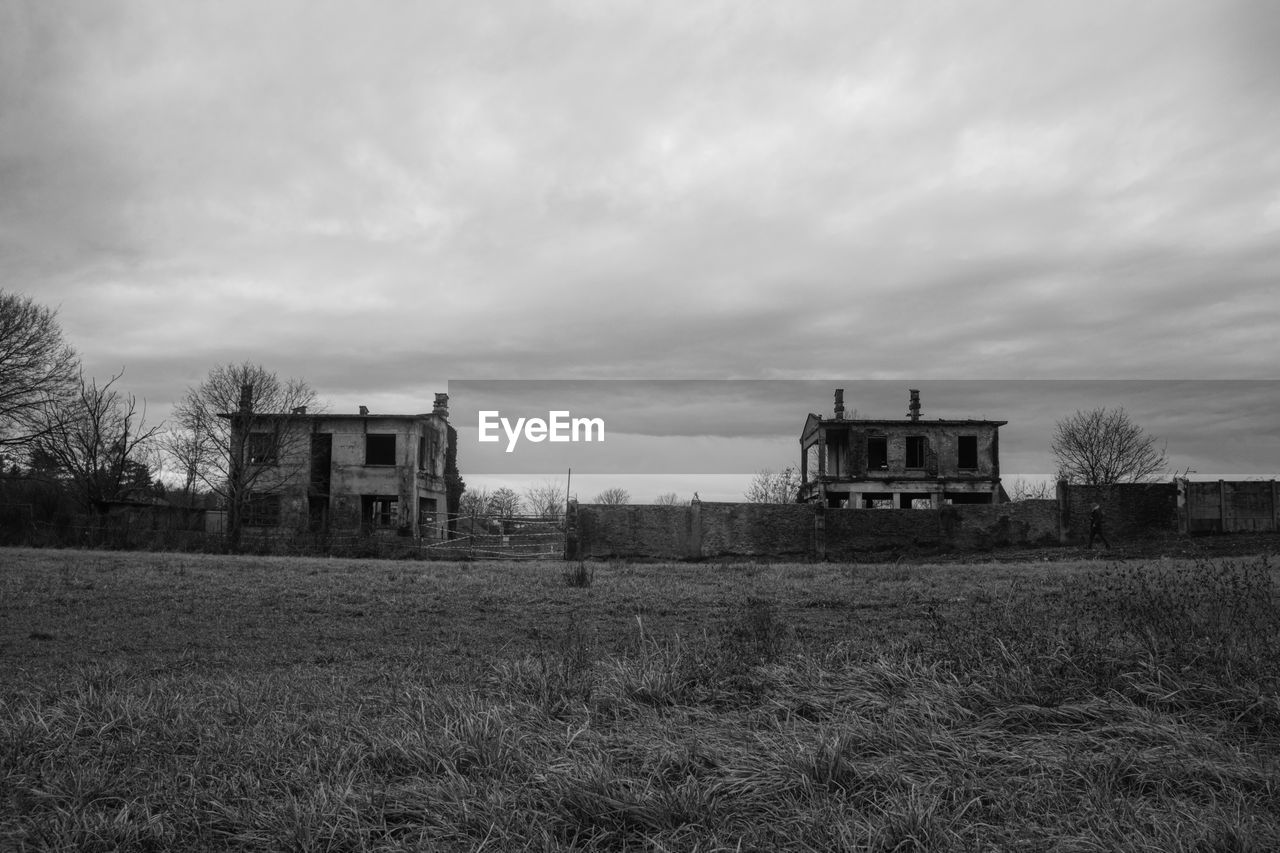 architecture, building exterior, built structure, house, sky, grass, abandoned, cloud - sky, no people, field, tree, farmhouse, outdoors, landscape, day, nature, scenery, desolate