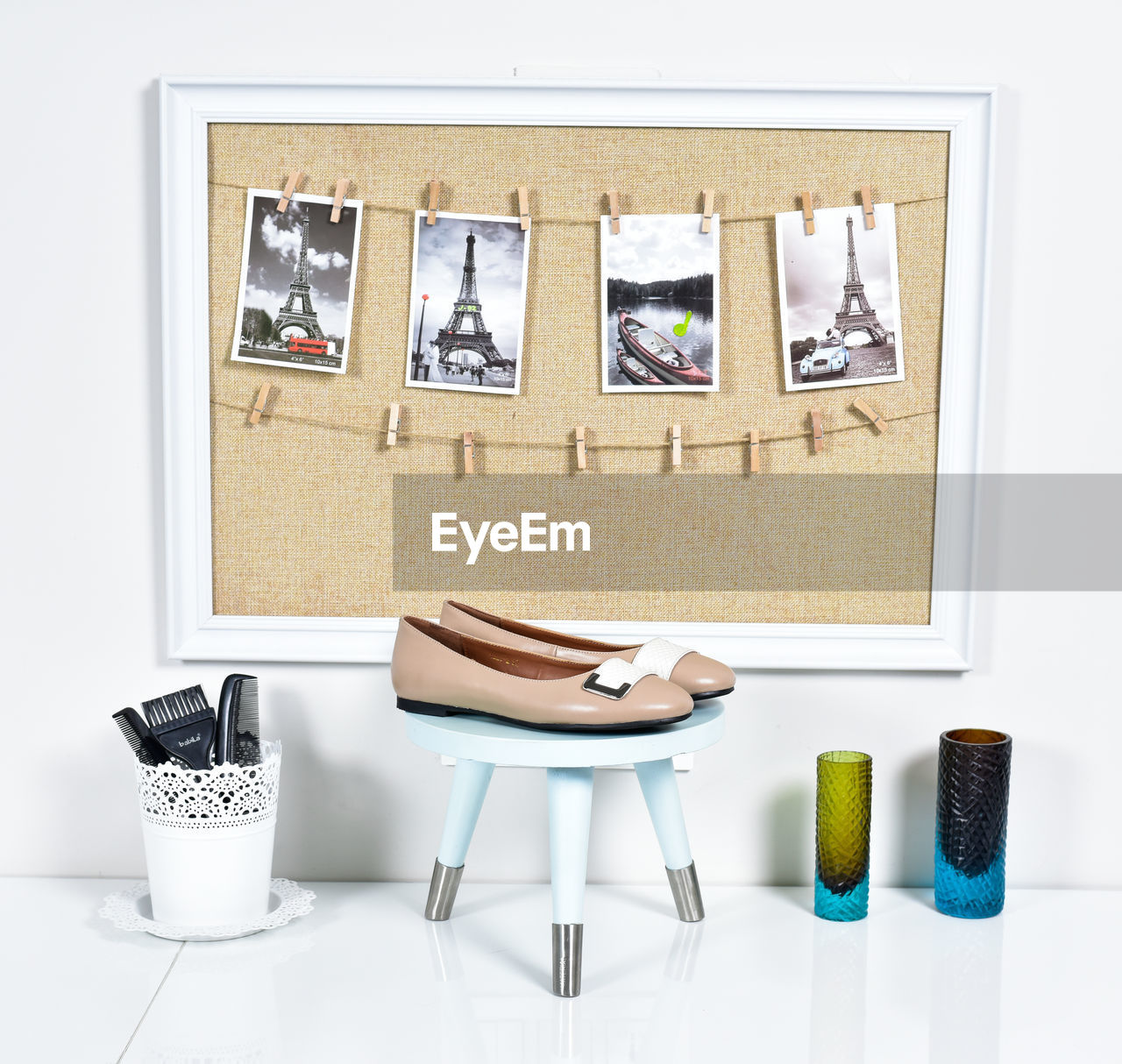 indoors, still life, no people, chair, seat, table, art and craft, container, large group of objects, creativity, arrangement, mirror, picture frame, white color, paintings, reflection, variation, choice, studio shot, white background, tray, personal accessory