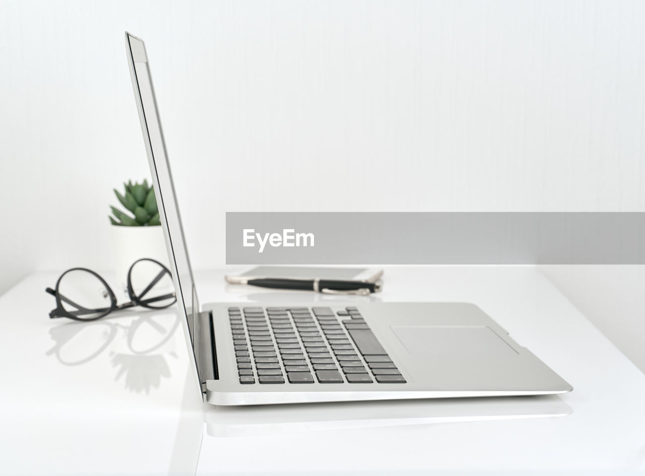 Laptop on table