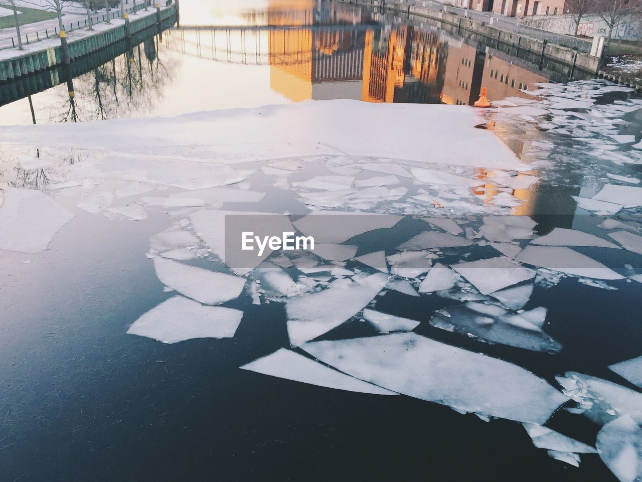 High angle view of ice on river