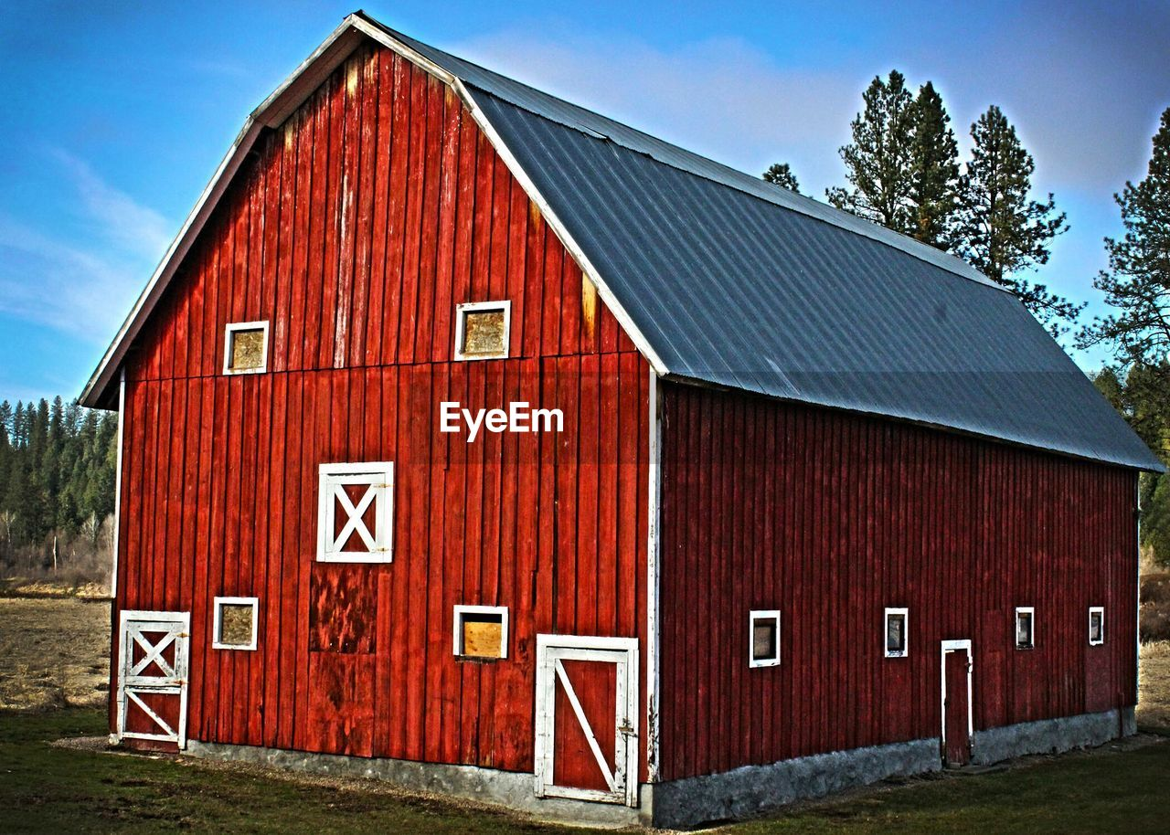 built structure, architecture, house, day, building exterior, red, no people, barn, outdoors, sky, tree