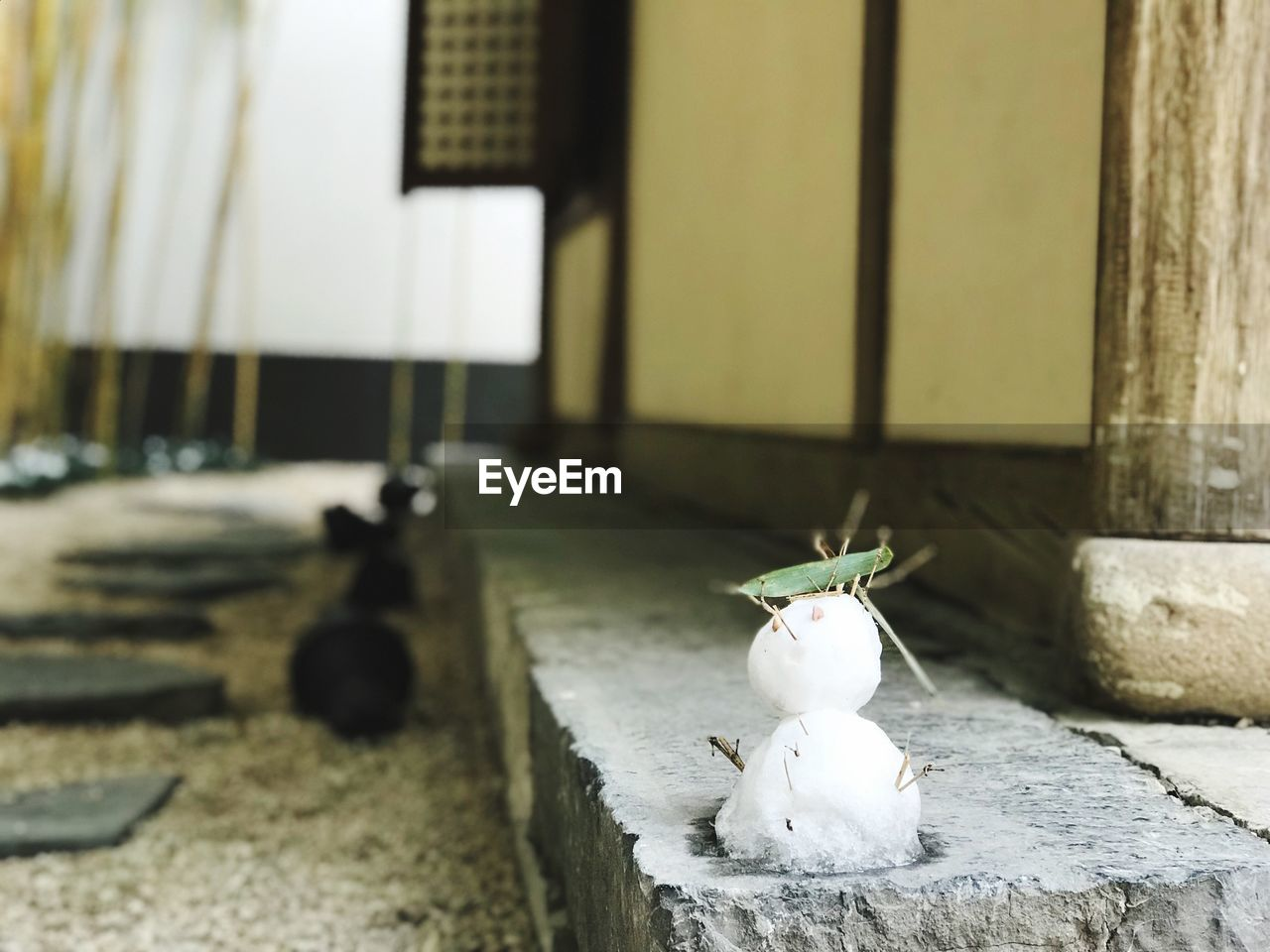 Close-Up Of Snowman On Curb