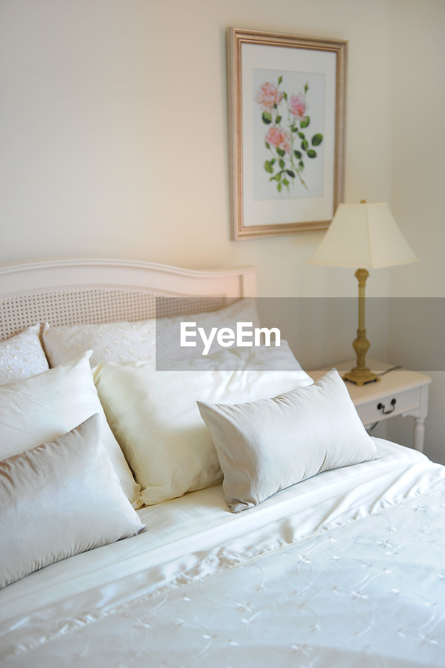 High angle view of pillows on bed at home