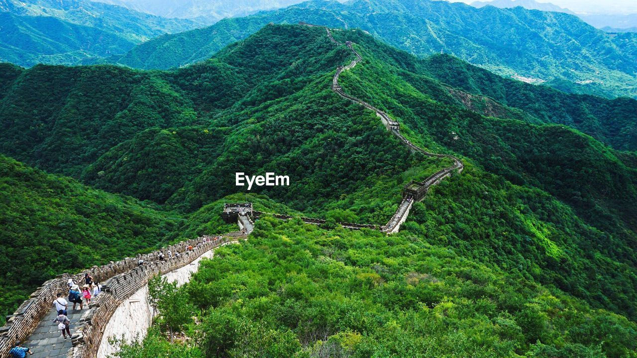 Scenic View Of People At Great Wall Of China