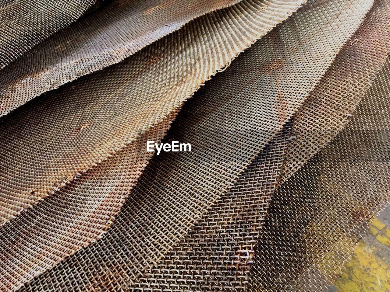 Close-up of metallic sheets