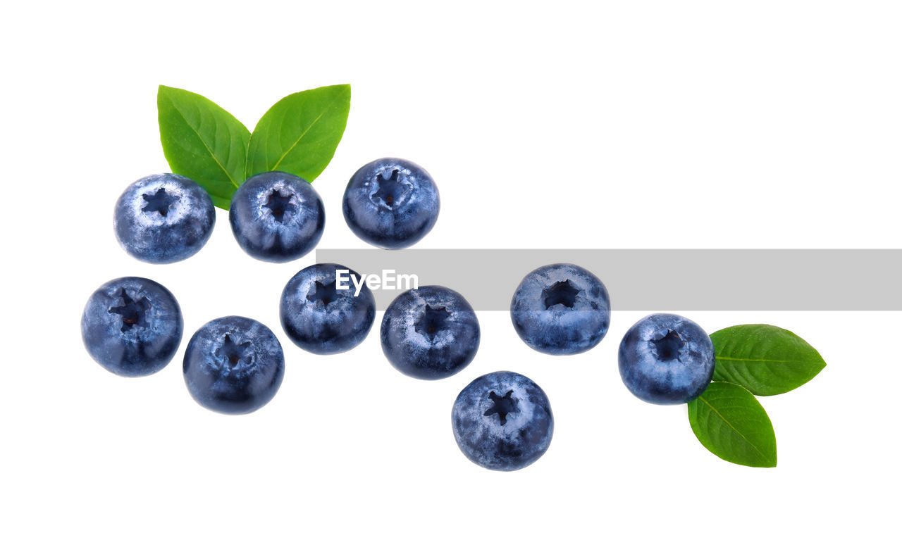 white background, leaf, plant part, studio shot, food, fruit, healthy eating, food and drink, blueberry, indoors, wellbeing, freshness, still life, berry fruit, close-up, no people, nature, green color, plant, cut out, leaves, ripe