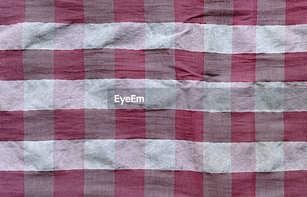 pattern, backgrounds, checked pattern, textile, full frame, no people, cotton, plaid, textured, indoors, wool, close-up, woven, shape, design, square shape, white color, striped, red, blanket