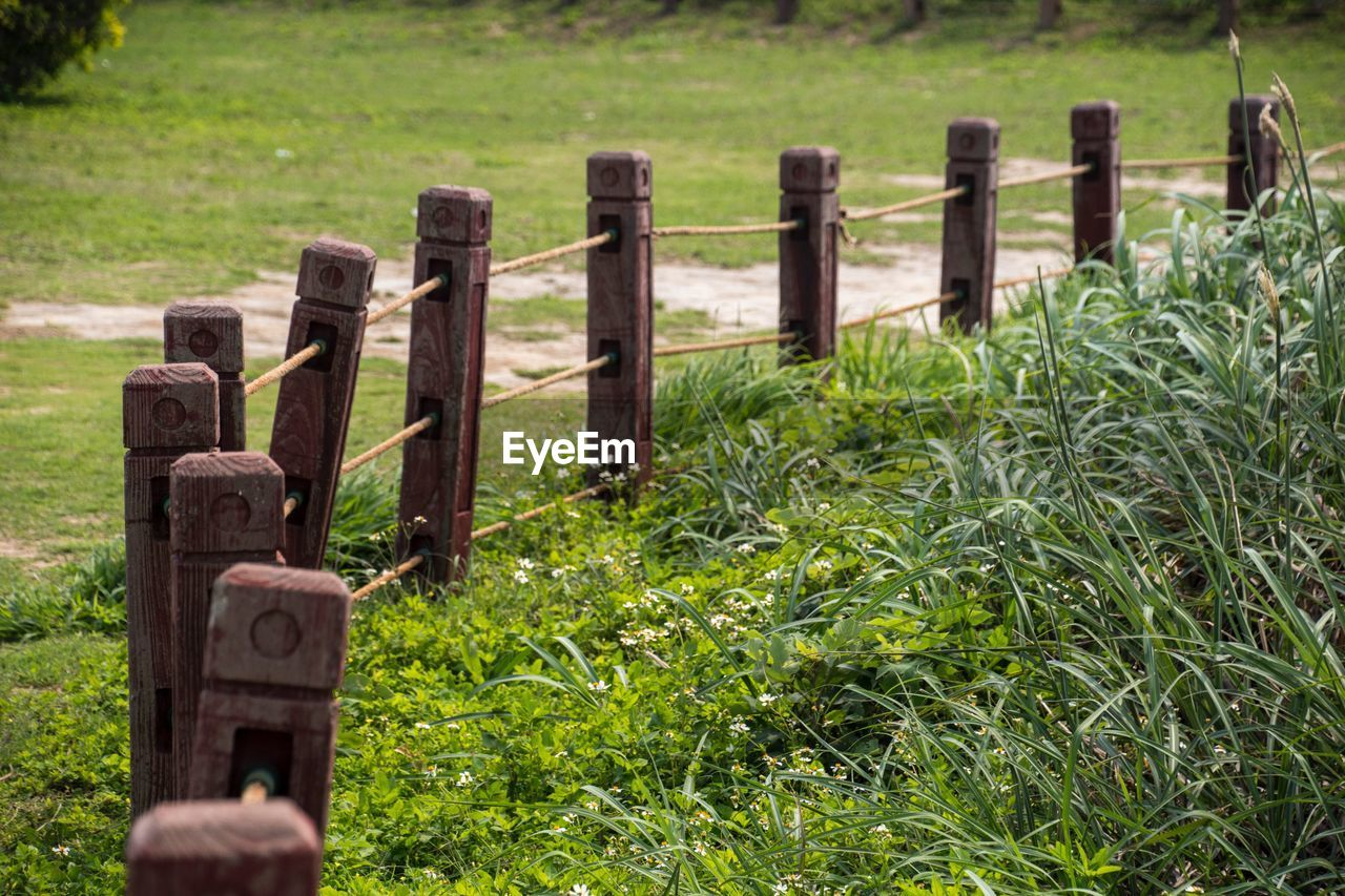 grass, plant, fence, no people, boundary, barrier, field, safety, protection, grave, security, day, nature, cemetery, land, green color, tombstone, outdoors, stone