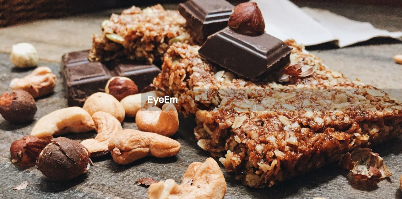 Surface Level Of Chocolate And Dry Fruits