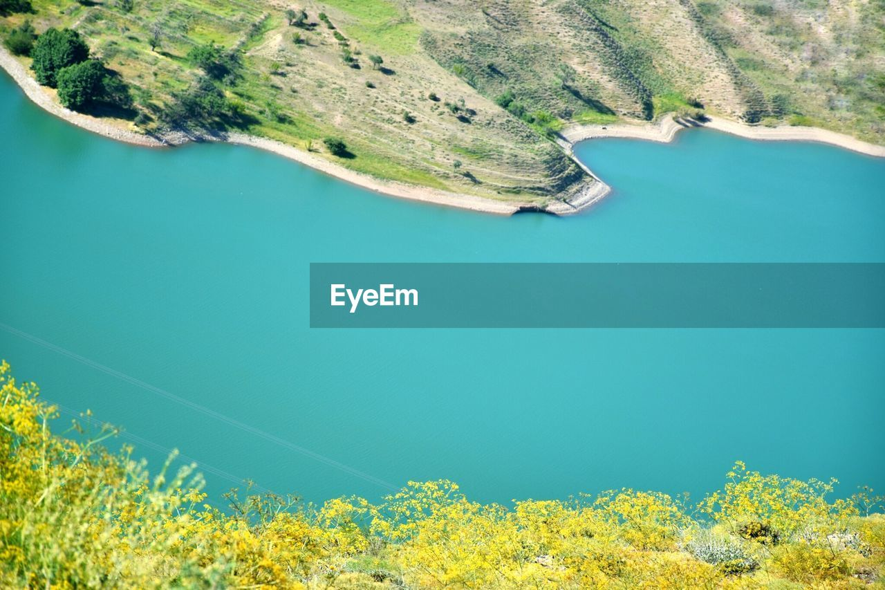 High Angle View Of Dam On Lake