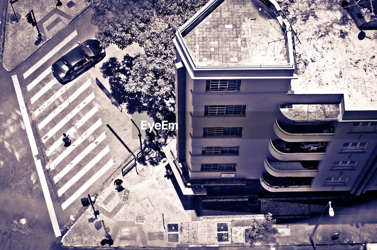 High angle view of residential building and street