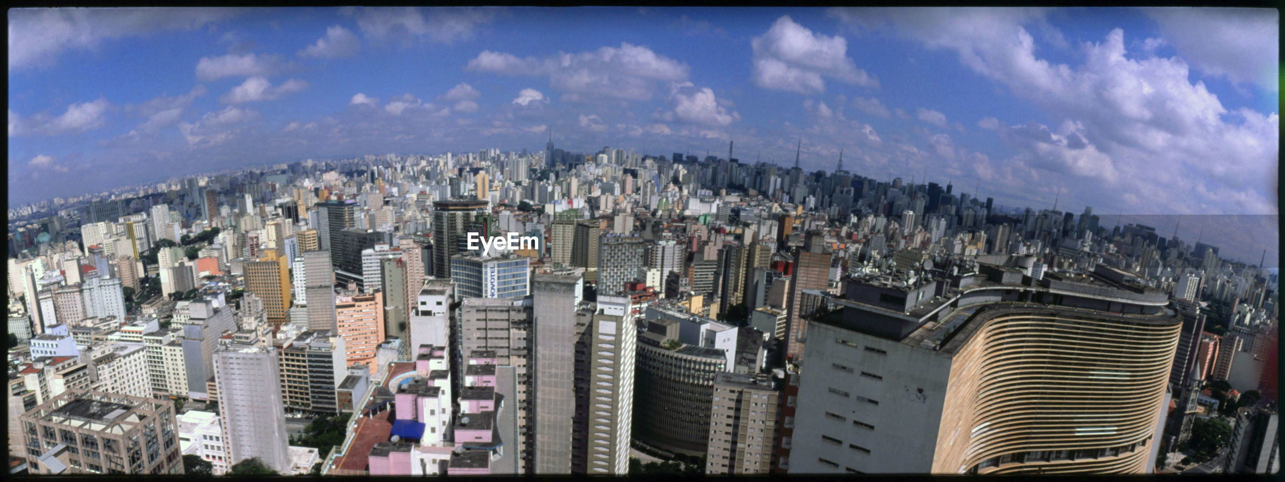 High angle shot of cityscape against sky