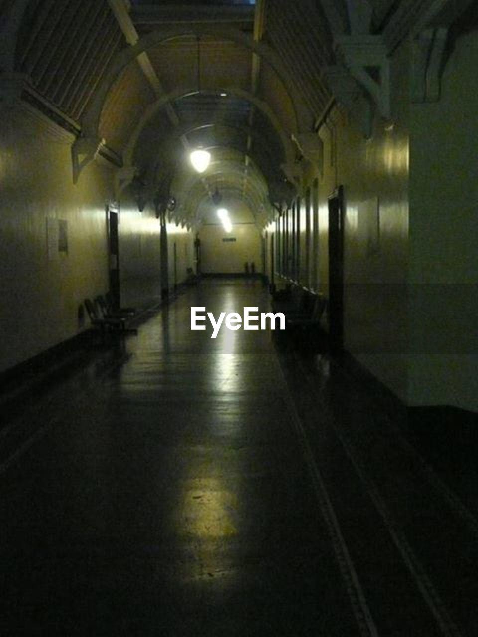illuminated, indoors, empty, no people, architecture, night