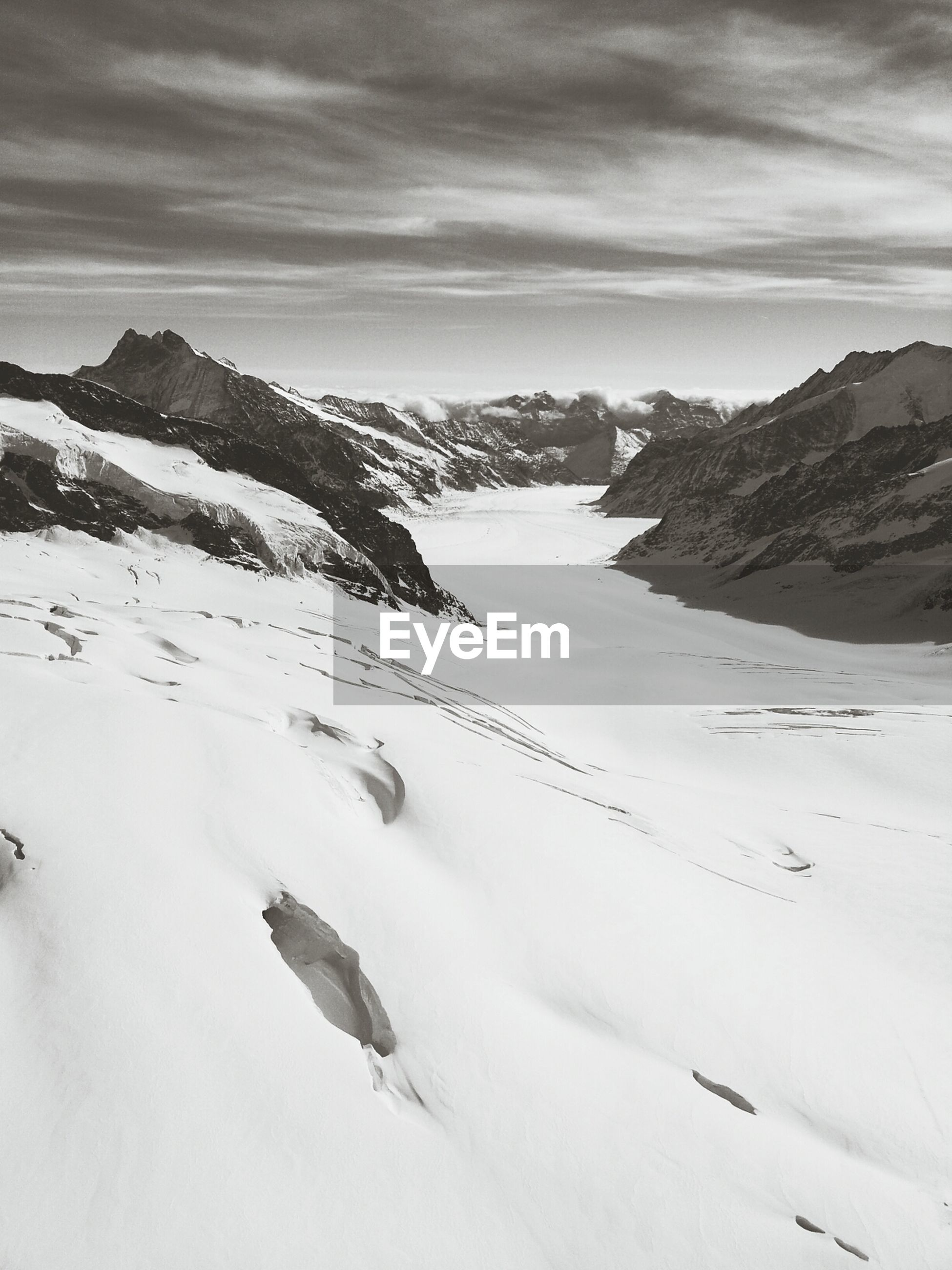 Elevated view of snowcapped mountain