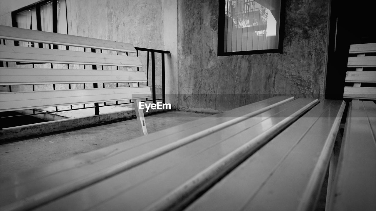 bench, window, seat, indoors, no people, empty, absence, wood - material, built structure, day, architecture, furniture, table, wall - building feature, domestic room, railing, glass - material, building