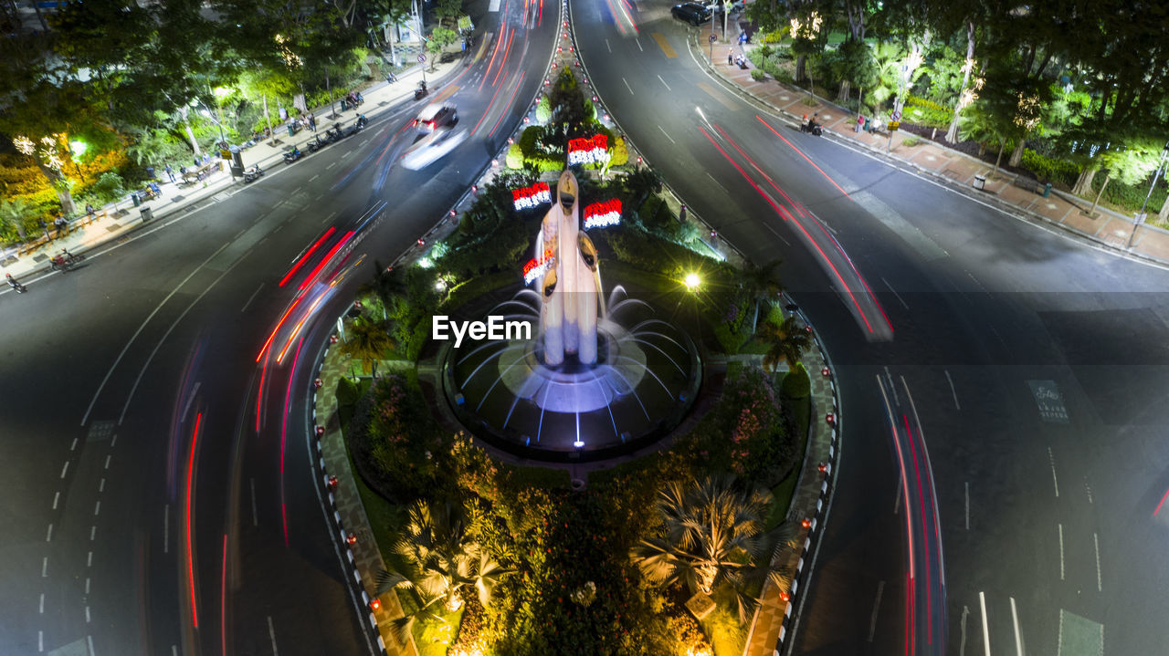 tree, transportation, motion, illuminated, high angle view, speed, plant, road, blurred motion, night, long exposure, light trail, city, nature, no people, outdoors, architecture, street, on the move, mode of transportation
