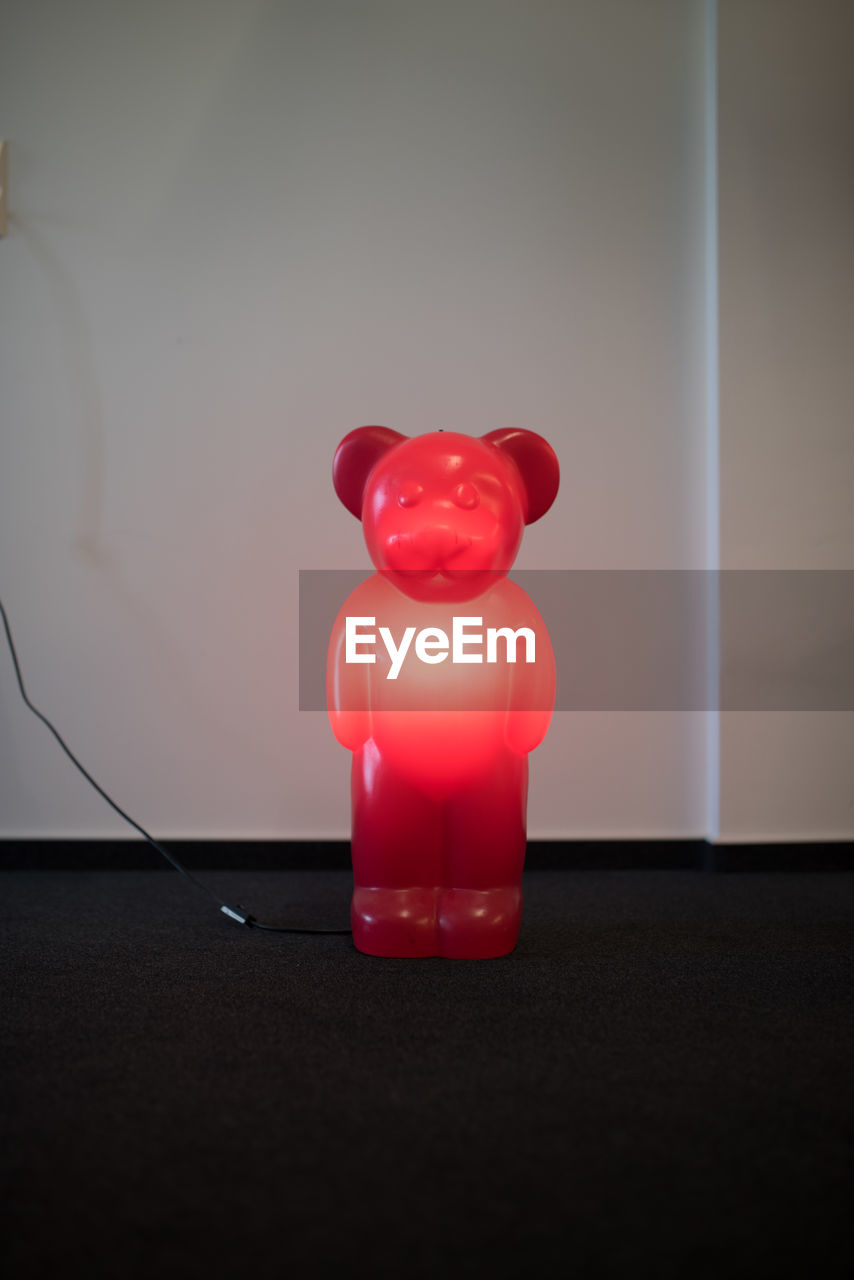indoors, table, red, piggy bank, no people, close-up, day