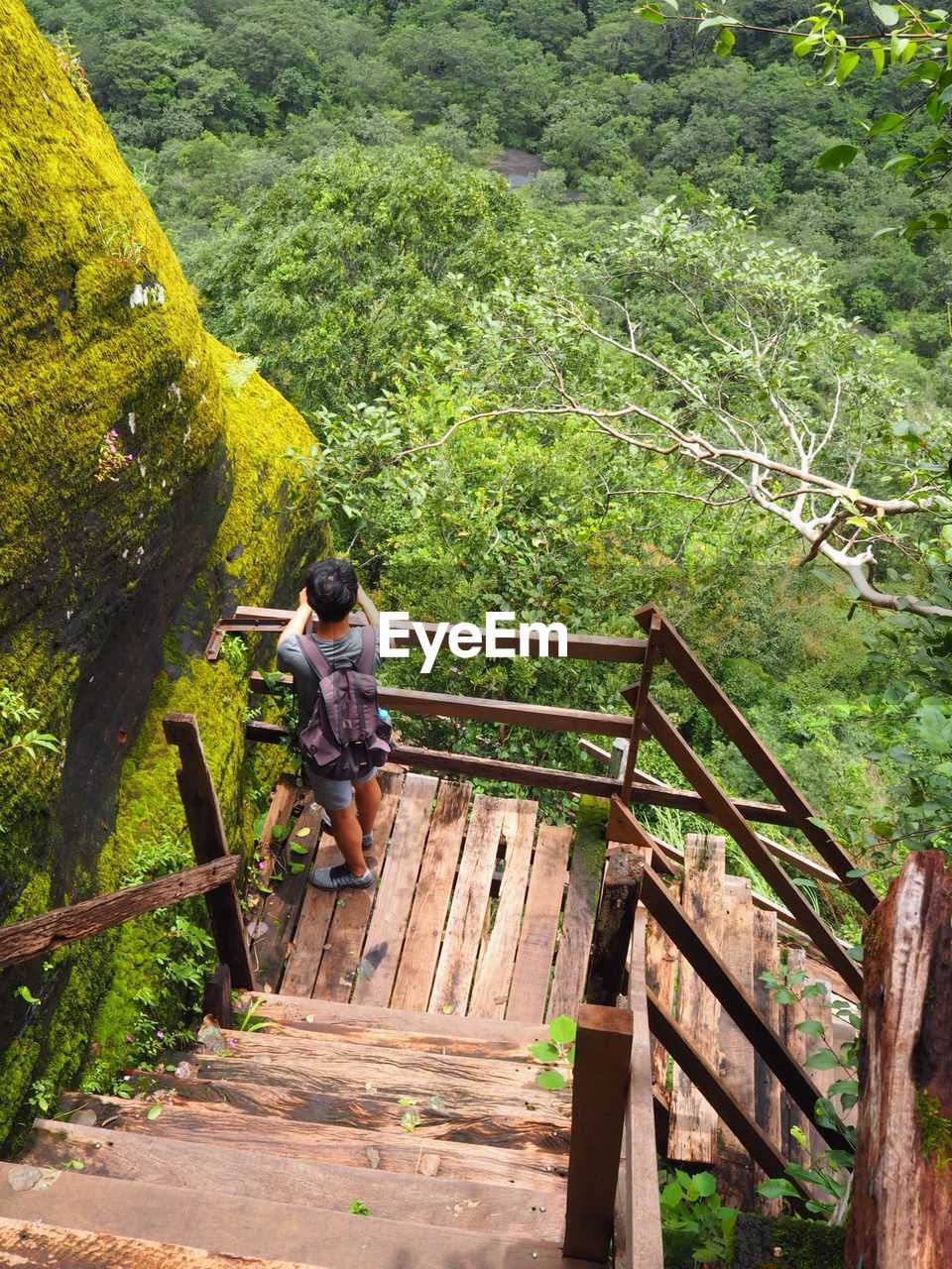 High angle view of man standing on steps in forest