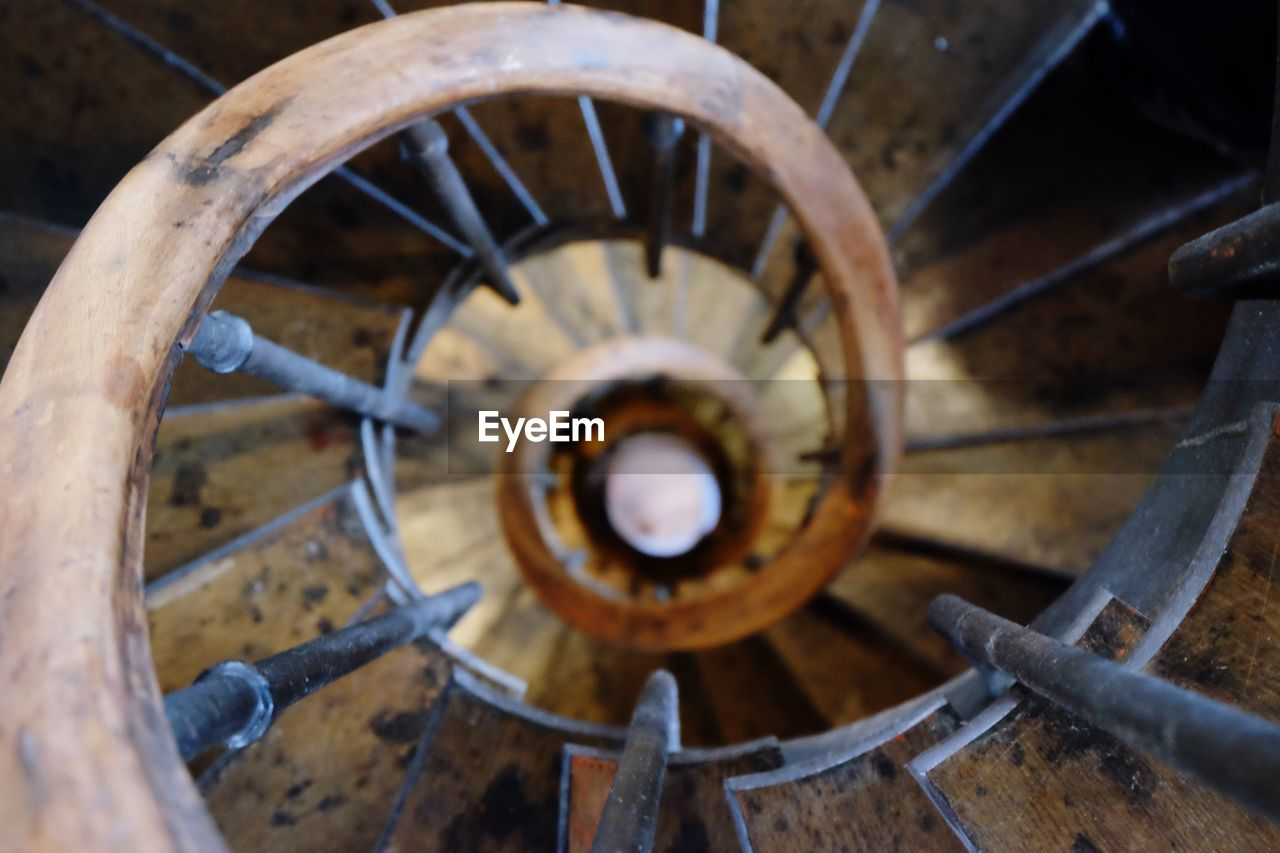 Directly Above View Of Spiral Staircase At Gare De Lyon