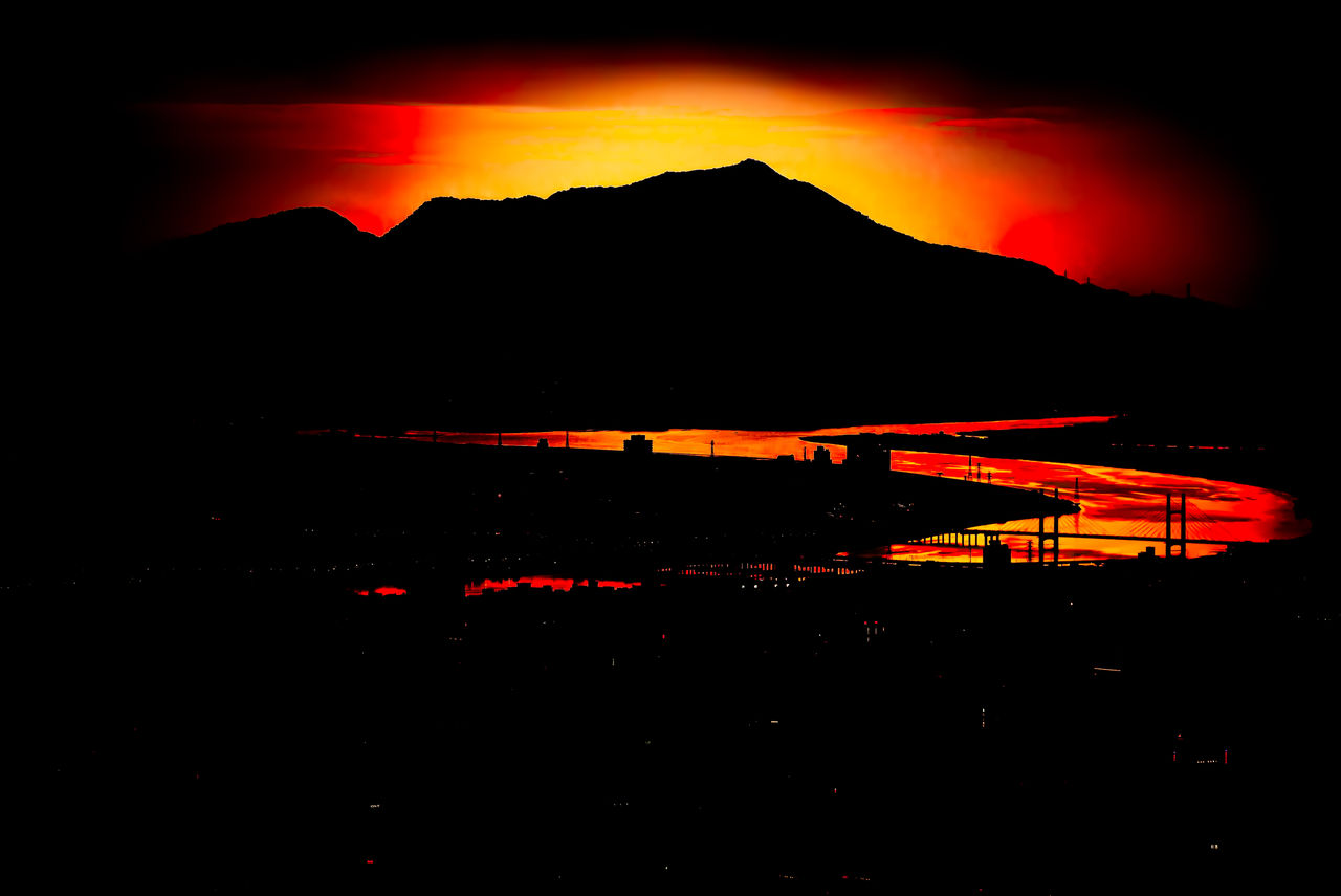 silhouette, sky, mountain, orange color, scenics - nature, beauty in nature, sunset, tranquil scene, water, nature, no people, tranquility, idyllic, cloud - sky, red, outdoors, night, dark, illuminated